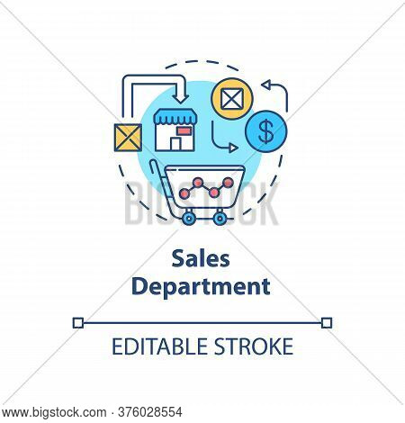 Sales Department Concept Icon. Marketing Plans. Commerce Research. Merchandise Sell. Product Managem