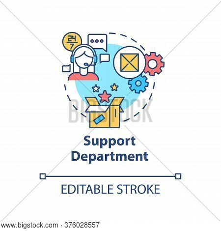 Support Department Concept Icon. Tech Help For Customers. Helpline For Consumers. Product Management