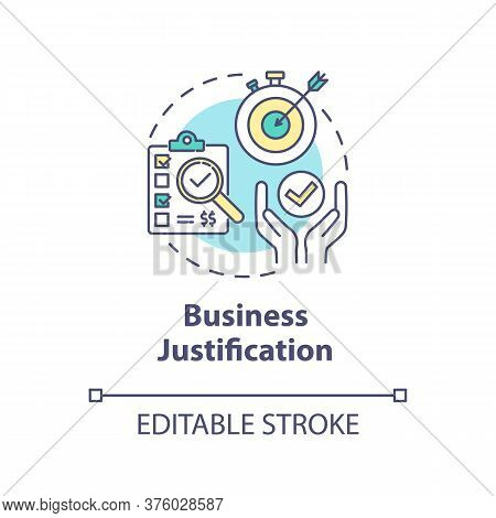 Business Justification Concept Icon. Corporate Plan For Development. Target For Earnings. Product Ma