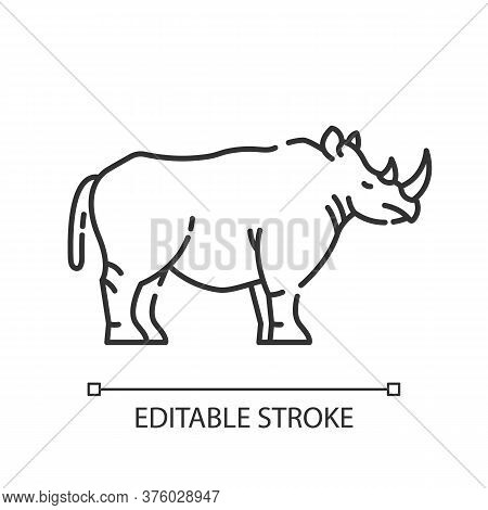 Rhinoceros Pixel Perfect Linear Icon. Exotic Horned Animal, African Fauna. Zoology, Safari Thin Line