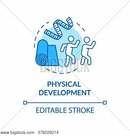 Kids Physical Development Concept Icon. Preschooler, Toddler Activities. Early Childhood. Exercising