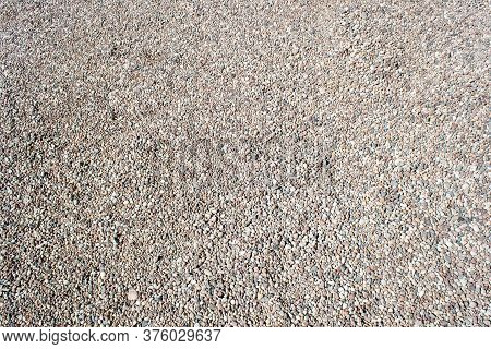 Gravel Texture. Small Stones, Little Rocks, Pebbles In Many Shades Of Grey, White, Brown, Pink Colou