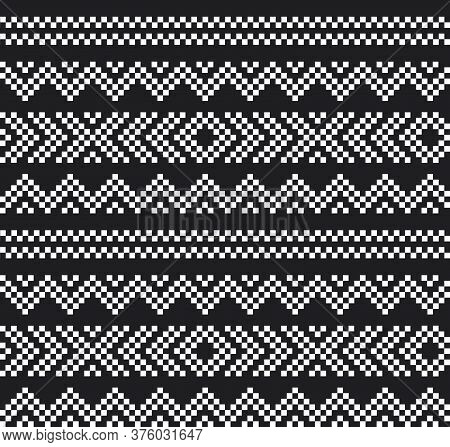 Black And White Christmas Fair Isle Seamless Pattern Background