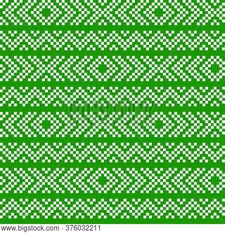 Green Christmas Fair Isle Seamless Pattern Background
