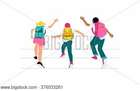 Happy School Children Running To Study. Classmates With Backpacks Back View Isolated On White. Welco