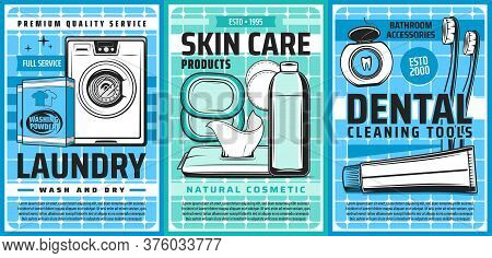 Laundry And Hygiene, Health And Skincare Washing, Vector Posters. Laundry Service Washing Machine De