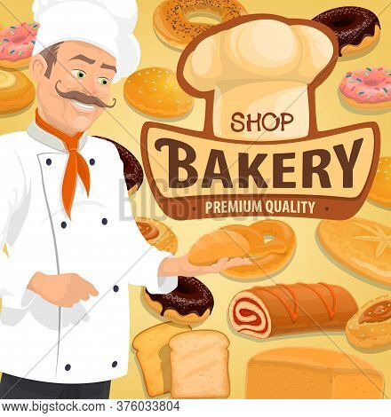 Bread And Pastry, Confectionery And Patisserie Chef Vector. Bread And Cakes Menu, Croissant And Bagu