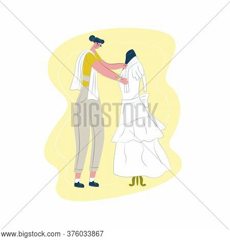 Vector Flat Illustration Seamstress, Dressmaker Who Works With Wedding Dress. Concept Ordering And S