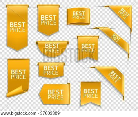 Golden Banners, Corners For Web Site, Vector Price Ribbons, Labels And Tags. Best Price Golden Banne