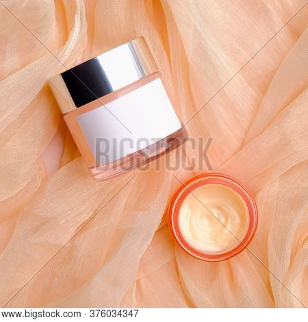 Cosmetic Product Packaging Design, Face Cream Jar Mockup With White Label And Moisturizer Lotion On