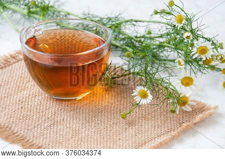 A Cup Of Chamomile Tea And Chamomile Flowers On The Table
