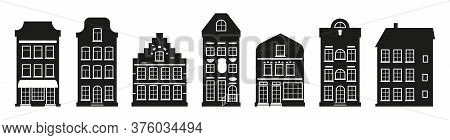 Black Houses Silhouette Amsterdam Set. Graphic Icon Townhouse, European Stayle. Glyph Urban And Subu