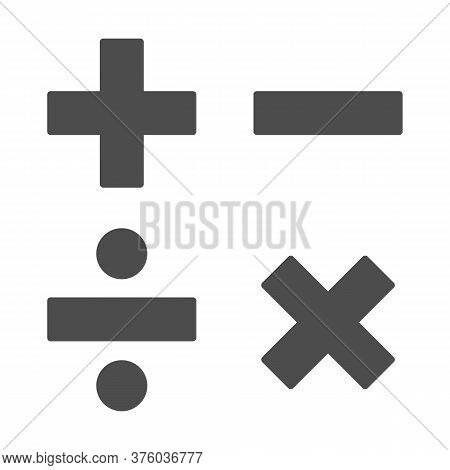 Add, Subtract, Divide, Multiply Symbols Solid, Education Concept, Math Calculate Sign On White Backg