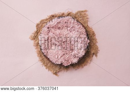 Newborn Digital Background - Wooden Bowl With Pink Faux Fur On Jute Layer And Pink Backdrop