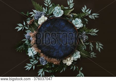 Newborn Digital Background - Brown Wooden Bowl With Green Leaves Wreath,  Teal Flowers And Blue Faux