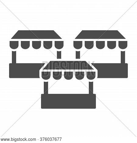 Stalls Solid Icon, Market Concept, Three Street Shops Sign On White Background, Bazaar Stands Icon I