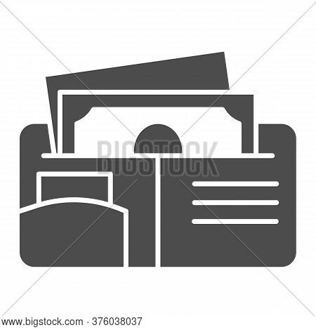 Money Wallet Solid Icon, Finance Concept, Open Wallet With Banknotes And Credit Card Sign On White B
