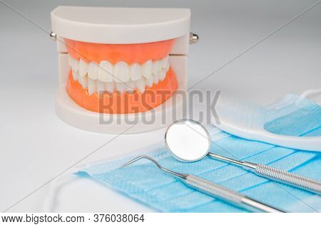 Dental Tools On White Background. Medical Technology Concept. Dental Hygiene. Cure Concept. Dentist