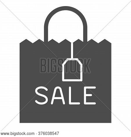 Shopping Bag With Tag And Sale Text Solid Icon, Shopping Concept, Shopping Bag Sign On White Backgro