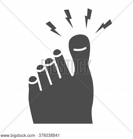 Sore Big Toe Solid Icon, Body Pain Concept, Foot Pain Sign On White Background, Leg With A Toe Injur
