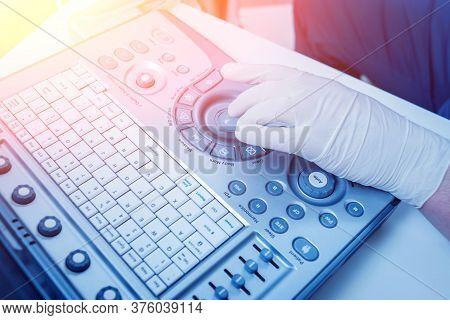 Ultrasound Equipment. Sonography Diagnostics. Light Medical Background.
