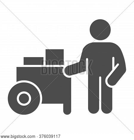 Person With Street Cart Solid Icon, Street Food Concept, Hot Dog Shop And Salesman Sign On White Bac