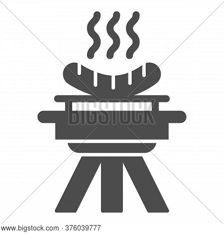Bbq And Grilled Sausages Solid Icon, Picnic Concept, Barbecue With Hot Sausages Sign On White Backgr