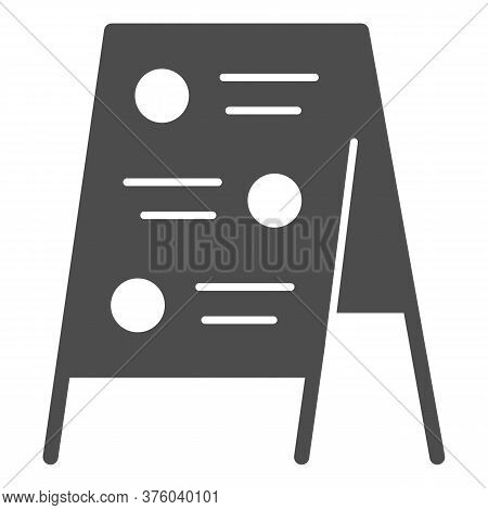 Menu Board Solid Icon, Street Food Concept, Sidewalk Restaurant Advert Sign On White Background, Men