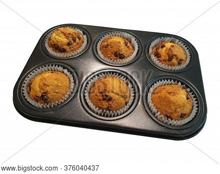Muffin Pan With Cooked Muffins Isolated On White Background