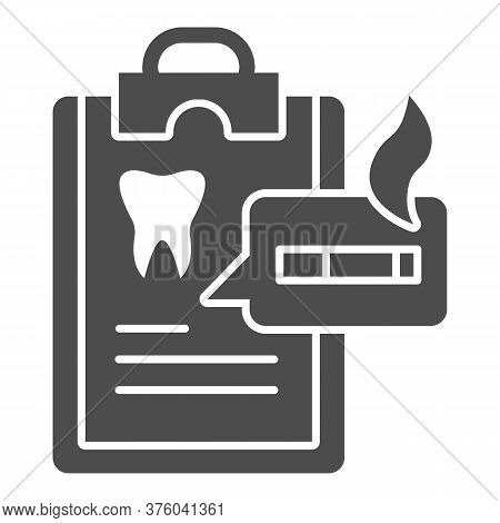 Dentist Questionnaire Solid Icon, Smoking Concept, Harm Of Smoking In Checklist Sign On White Backgr