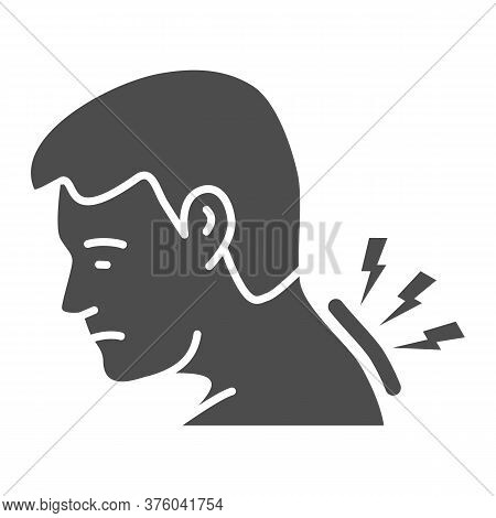 Neck Pain Solid Icon, Body Pain Concept, Man Suffering From Neck Ache Sign On White Background, Man