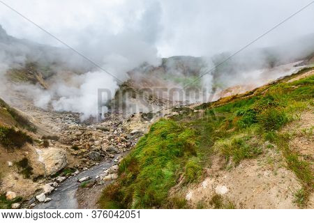 Picturesque View Of Volcanic Landscape, Aggressive Hot Spring, Erupting Fumarole, Gas-steam Activity