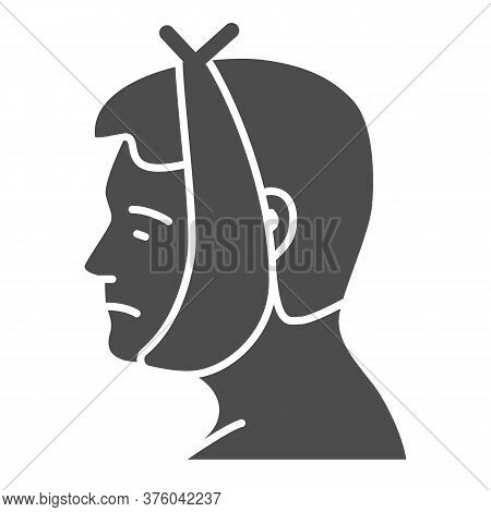 Tooth And Cheek Hurts Solid Icon, Disease Concept, Toothache Sign On White Background, Human Head In
