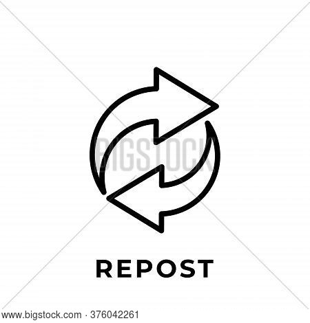 Repost. Repost icon. Repost vector. Repost icon vector. Repost illustration. Repost logo template. Repost button. Repost symbol. Repost sign. Repost icon design. Repost vector icon flat design for web icons, logo, symbol, banner, app, UI.