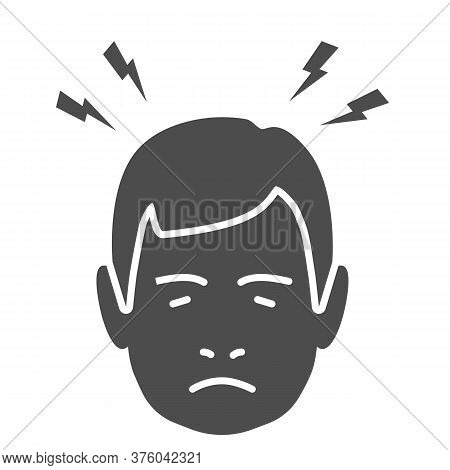 Headache Solid Icon, Body Pain Concept, Lightnings Above Mans Head Sign On White Background, Person