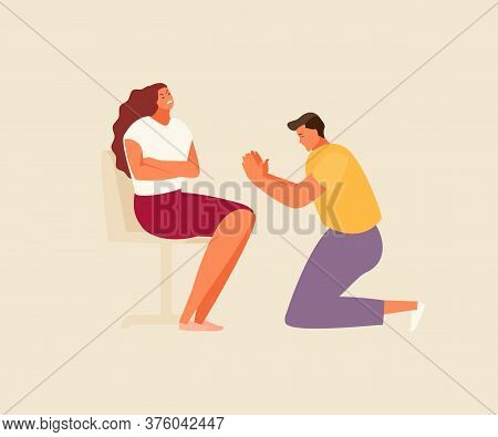 Family Quarrel. Repentant Man Apologizes To Woman Vector Illustration