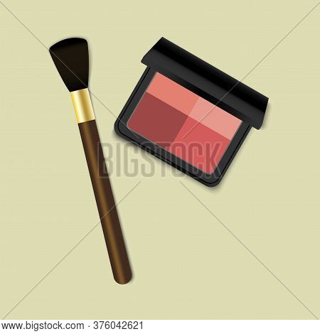 Eye Shadow For Makeup. Brush And Cosmetic. The Blush Palette. Black Box Of Cosmetics. Compact Powder
