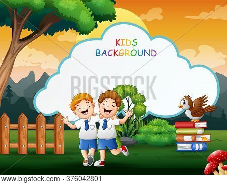 Kids Background Template With Happy School Boys