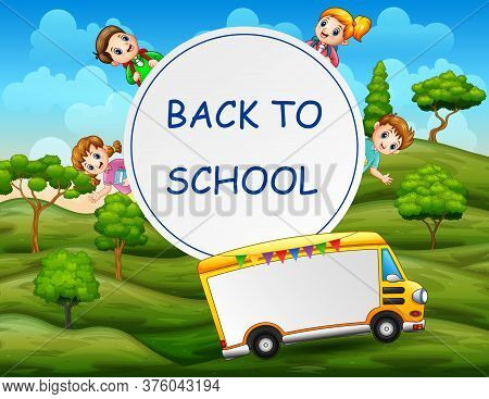 Back To School Template With Happy Kids