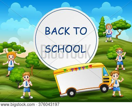 Back To School Template With Students At Nature