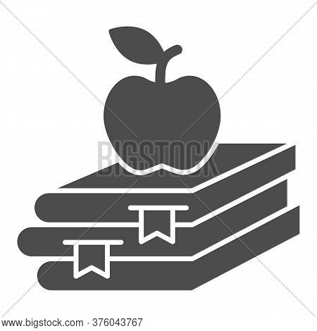 Books And Apple Solid Icon, Education Concept, School Book And Apple Sign On White Background, Stack