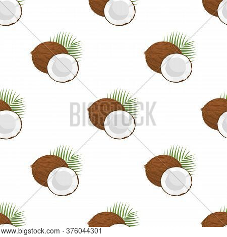Seamless Pattern With Cartoon Detailed Brown Exotic Whole Coconut, Half And Green Leaf. Summer Fruit