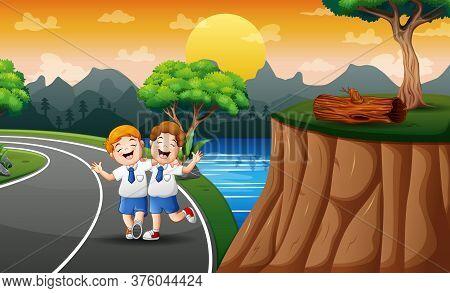 Funny Two Boys Walking To School Illustration