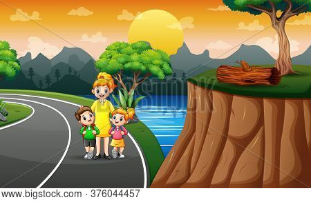 Cartoon Illustration Of Children Walk To School