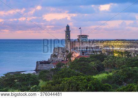 Morro Castle In Havana (habana), Cuba  At Dusk