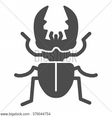 Stag-beetle Solid Icon, Insects Concept, Large Beetle Sign On White Background, Deer Bug Icon In Gly