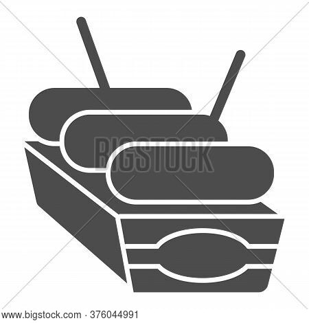 Sausages In Box Solid Icon, Street Food Concept, Street Junk Food Container Sign On White Background