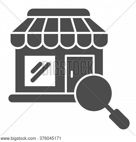 Shop Building And Magnifier Solid Icon, Shopping Concept, Store With Magnifying Glass Sign On White