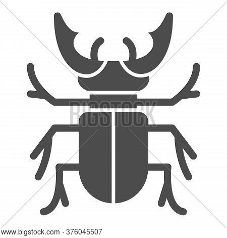 Beetle Stag Solid Icon, Bugs Concept, Deer Beetle Sign On White Background, Stag-beetle Icon In Glyp