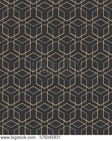 Repetitive Wave Vector Golden, Decoration Pattern. Continuous Ramadan Graphic Symmetrical Array Text